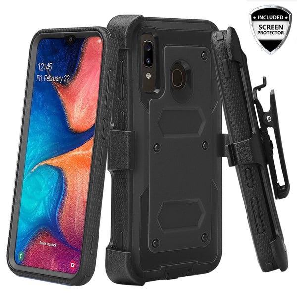 samsung galaxy a20 heavy duty holster case - black - www.coverlabusa.com