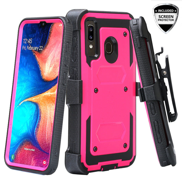 samsung galaxy a20 heavy duty holster case - hot pink - www.coverlabusa.com
