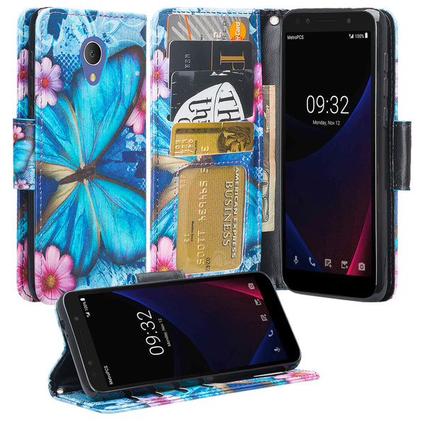 Alcatel 1x Evolve Wallet Case - blue butterfly - www.coverlabusa.com