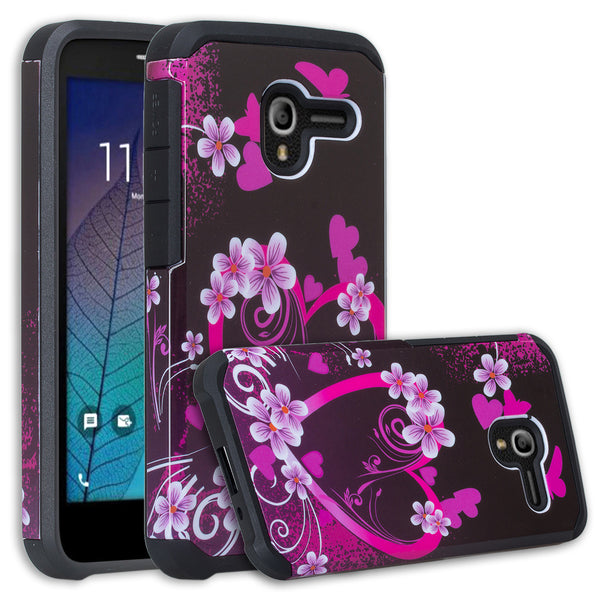 Alcatel TRU Case | Alcatel Stellar Hybrid Case - Heart Butterflies - www.coverlabusa.com