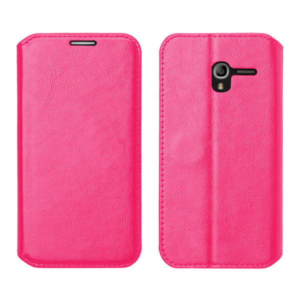Alcatel TRU, Alcatel Stellar Pu leather wallet case - hot pink - www.coverlabusa.com