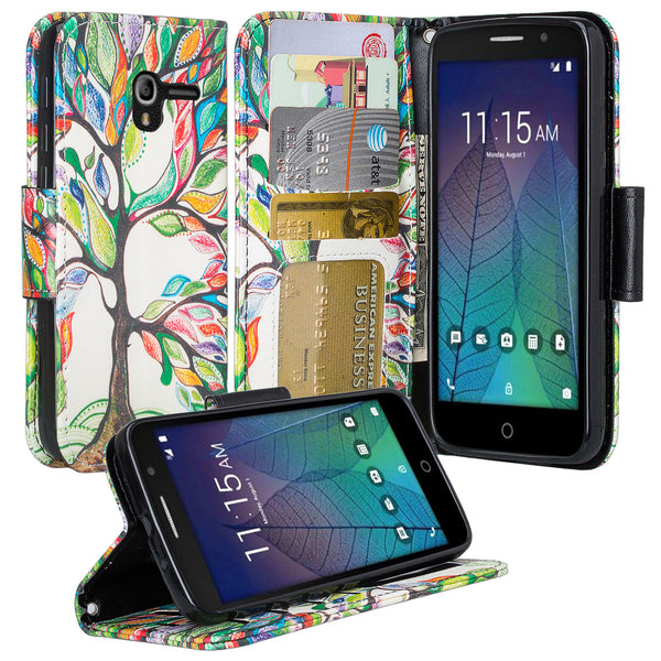Alcatel TRU Pu leather wallet case - colorful tree - www.coverlabusa.com