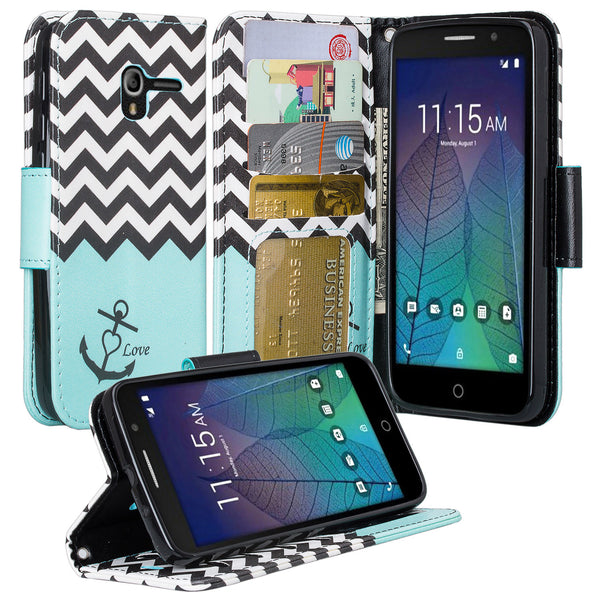 Alcatel TRU, Alcatel Stellar Pu leather wallet case - teal anchor - www.coverlabusa.com