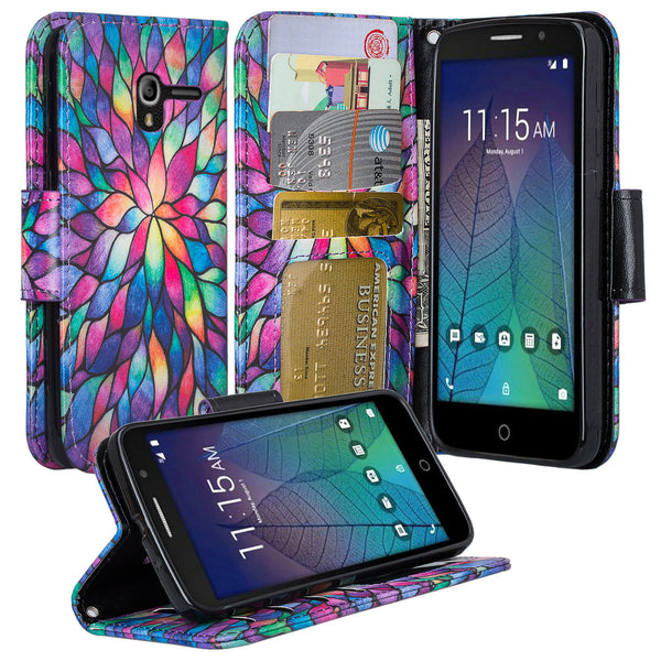 Alcatel TRU, Alcatel Stellar Pu leather wallet case - rainbow flower - www.coverlabusa.com