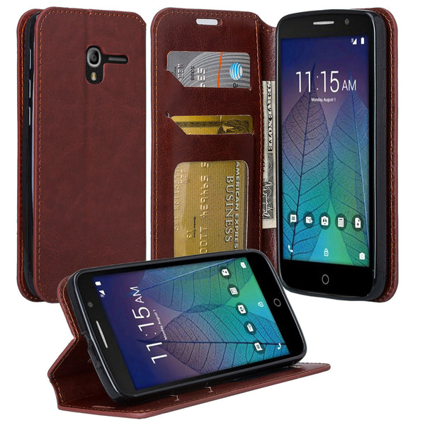 Alcatel TRU, Alcatel Stellar Pu leather wallet case - brown - www.coverlabusa.com