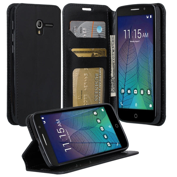 Alcatel TRU, Alcatel Stellar Pu leather wallet case - black - www.coverlabusa.com