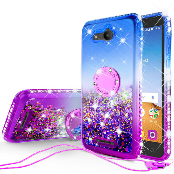 glitter ring phone case for alcatel tetra - blue gradient - www.coverlabusa.com