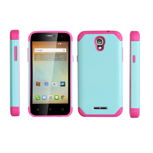 Alcatel OneTouch Elevate Hybrid Case - teal/hot pink - www.coverlabusa.com