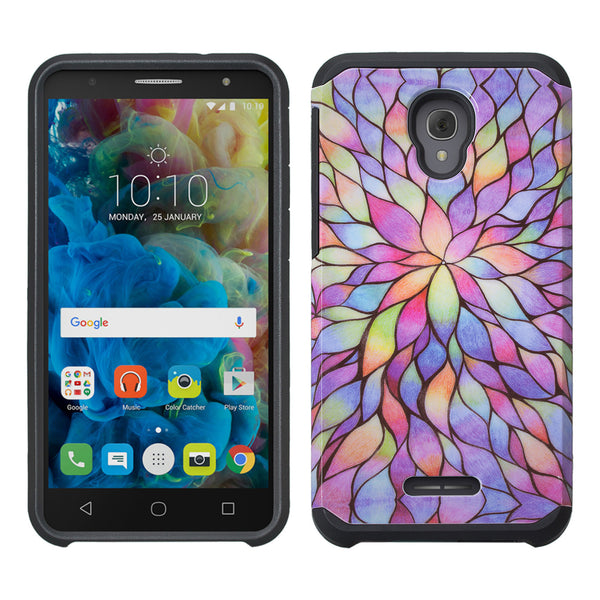 Alcatel Fierce 4 Case, Alcatel Onetouch Allura Case, Alcatel Pop 4+ Hybrid Case - Rainbow Flower -www.coverlabusa.com