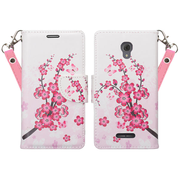 Alcatel Fierce 4, Alcatel Onetouch Allura, Alcatel Pop 4+ wallet case - Cherry Blossom - www.coverlabusa.com