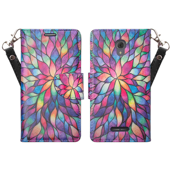 Alcatel Fierce 4, Alcatel Onetouch Allura, Alcatel Pop 4+ wallet case - Rainbow Flower - www.coverlabusa.com