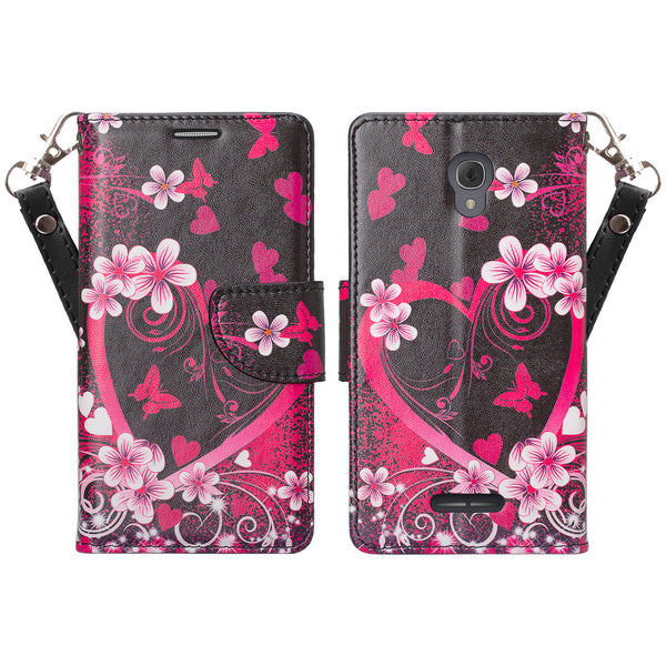 Alcatel Fierce 4, Alcatel Onetouch Allura, Alcatel Pop 4+ wallet case - Heart Butterflies - www.coverlabusa.com
