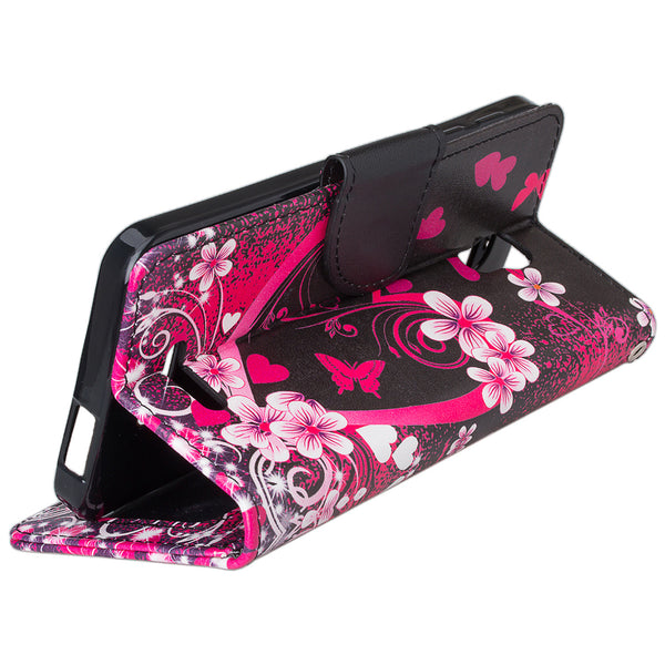 alcatel onetouch fierce 4 cover, onetouch fierce4 wallet case - flower hearts - www.coverlabusa.com