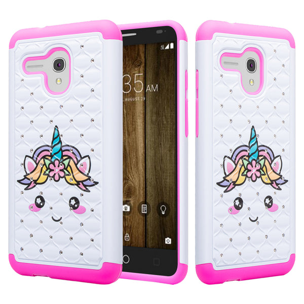 alcatel fierce xl case crystal rhinestone - white unicorn - www.coverlabusa.com