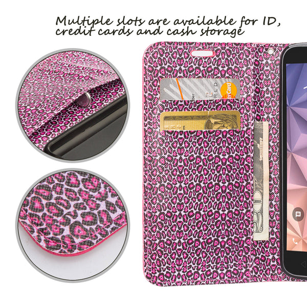Alcatel Pixi Glory Case, Flint, Fierce XL, Jitterbug Smart - wallet case -pink cheetah - www.coverlabusa.com