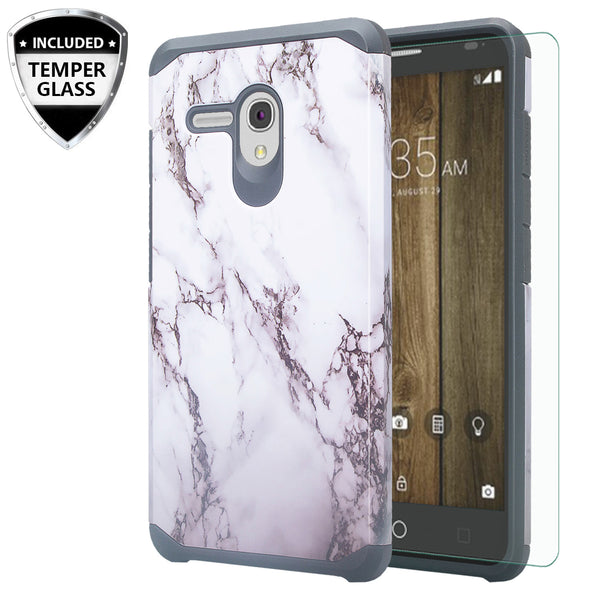 Alcatel Pixi Glory Case, Flint, Fierce XL, Jitterbug Smart, Slim Hybrid Dual Layer Case - Marble - www.coverlabusa.com
