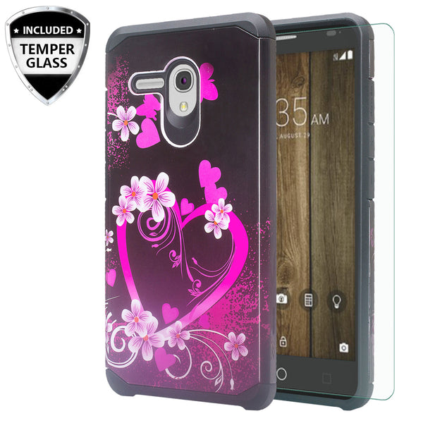 Alcatel Pixi Glory Case, Flint, Fierce XL, Jitterbug Smart, Slim Hybrid Dual Layer Case - Heart Butterflies - www.coverlabusa.com