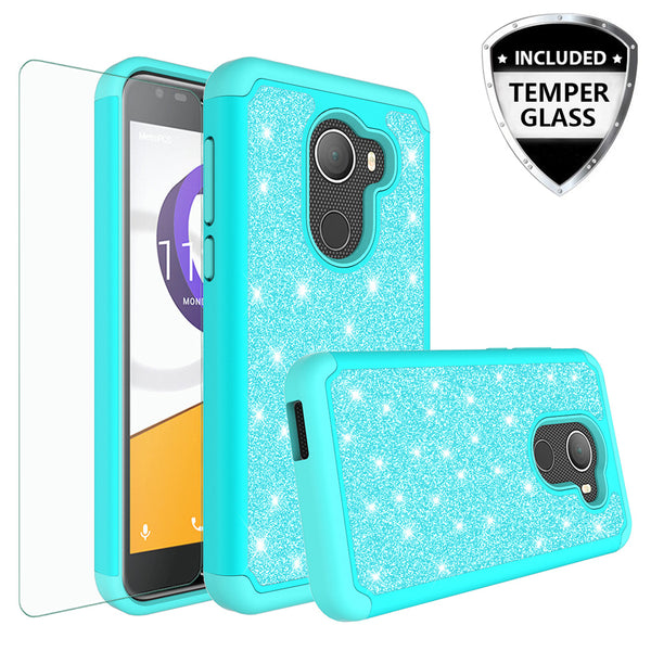 Alcatel A30 Plus Glitter Hybrid Case - Teal - www.coverlabusa.com