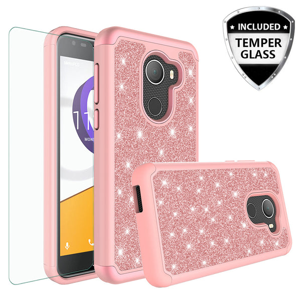 Alcatel A30 Plus Glitter Hybrid Case - Rose Gold - www.coverlabusa.com