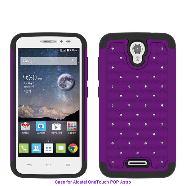 Alcatel OneTouch POP Astro Rhinestone Case - purple/black - www.coverlabusa.com