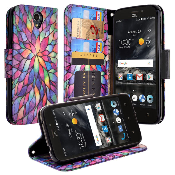 ZTE Prestige 2 Wallet Case [Card Slots + Money Pocket + Kickstand] and Strap - Rainbow Flower
