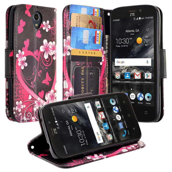 ZTE Prestige 2 Wallet Case [Card Slots + Money Pocket + Kickstand] and Strap - Heart Butterflies