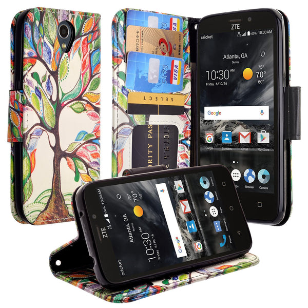 ZTE Prestige 2 Wallet Case [Card Slots + Money Pocket + Kickstand] and Strap - Vibrant Tree