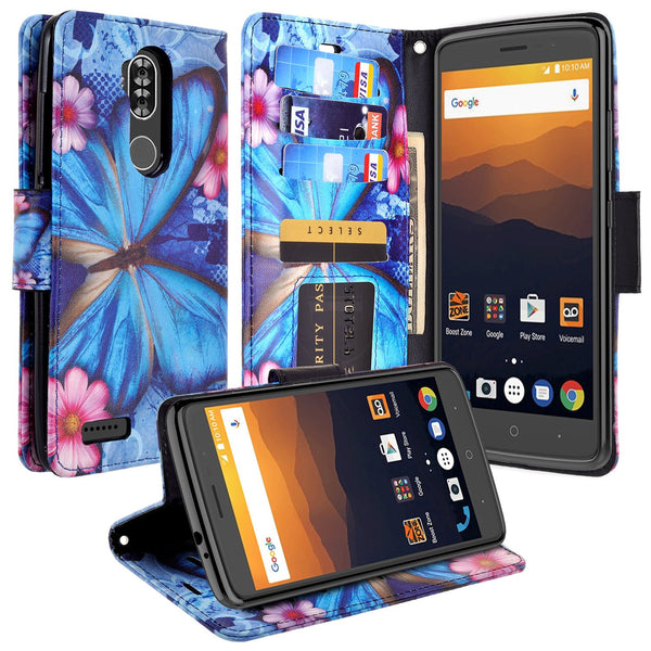 zte max xl, blade 3, zmax pro 2, wallet case - Blue Butterfly - www.coverlabusa.com