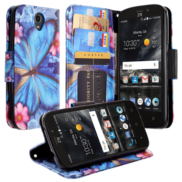 ZTE Prestige 2 Wallet Case [Card Slots + Money Pocket + Kickstand] and Strap - Blue Butterfly