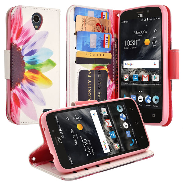 ZTE Prestige 2 Wallet Case [Card Slots + Money Pocket + Kickstand] and Strap - Vivid Sunflower