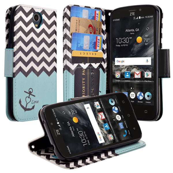 ZTE Prestige 2 Wallet Case [Card Slots + Money Pocket + Kickstand] and Strap - Teal Anchor