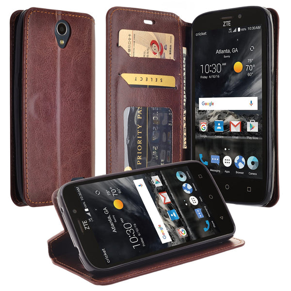 ZTE Prestige 2 Wallet Case [Card Slots + Money Pocket + Kickstand] and Strap - Brown