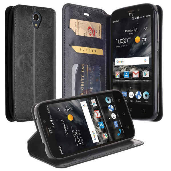 ZTE Prestige 2 Wallet Case [Card Slots + Money Pocket + Kickstand] - Black - www.coverlabusa.com
