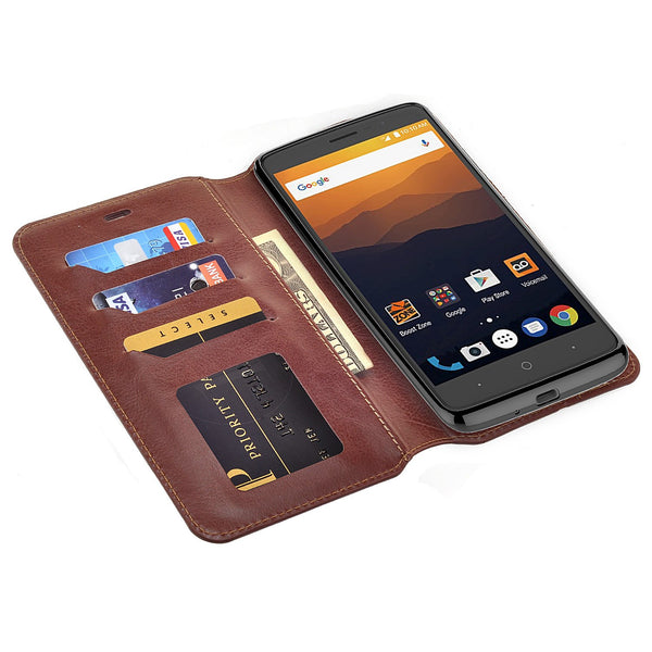 ZTE Max XL, ZTE Blade Max 3, ZTE Max Blue Case, Pu Leather Magnetic Fold[Kickstand] Wallet Cover with Card Slots - Brown