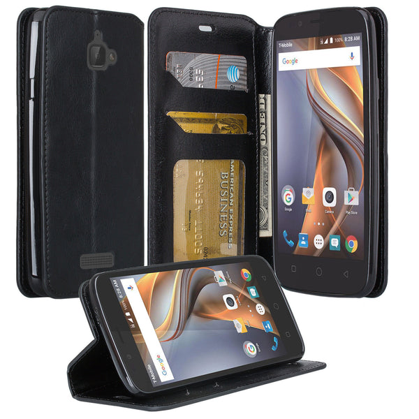 Coolpad Catalyst PU leather wallet case - black - www.coverlabusa.com