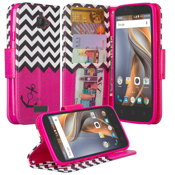 coolpad catalyst wallet case - hot pink anchor - www.coverlabusa.com
