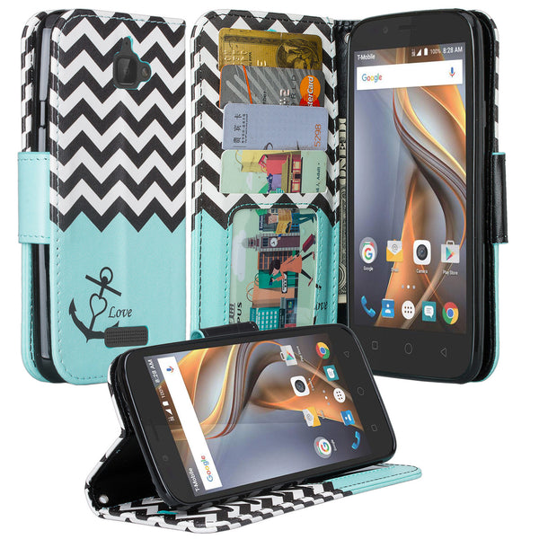 coolpad catalyst wallet case - teal anchor - www.coverlabusa.com