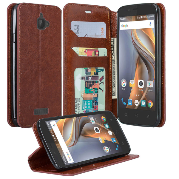 Coolpad Catalyst PU leather wallet case - brown - www.coverlabusa.com