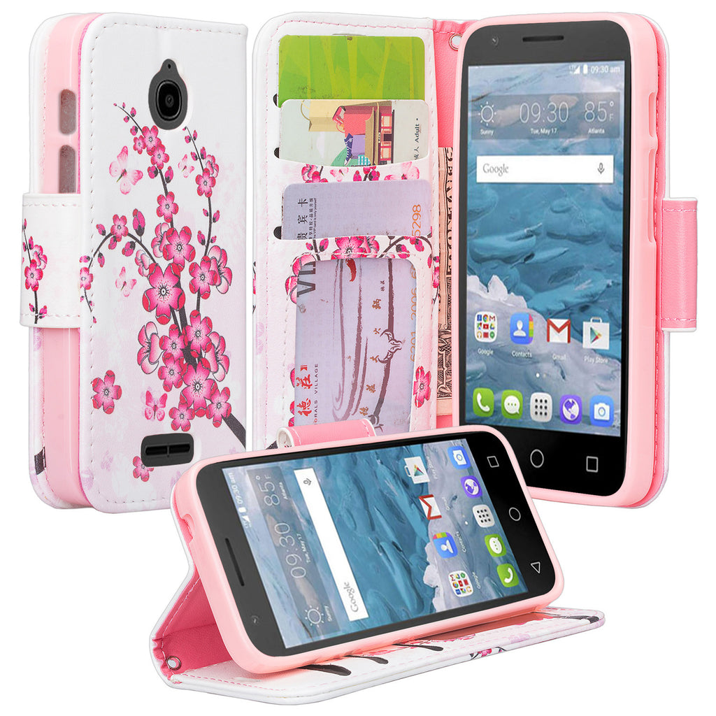on sale 549d4 e8a62 Alcatel Pixi Avion Case, Alcatel Dawn Case, Alcatel Streak Case, Alcatel  Ideal, Alcatel Acquire Wrist Strap [Kickstand] Pu Leather Wallet Case with  ID ...