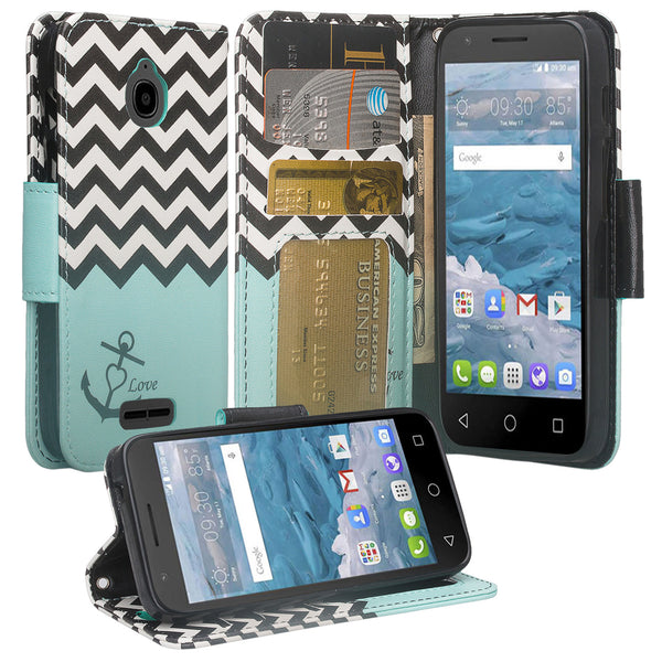 Alcatel dawn cover,dawn wallet case - teal anchor - www.coverlabusa.com