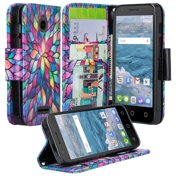 Alcatel dawn cover,dawn wallet case - rainbow flower - www.coverlabusa.com