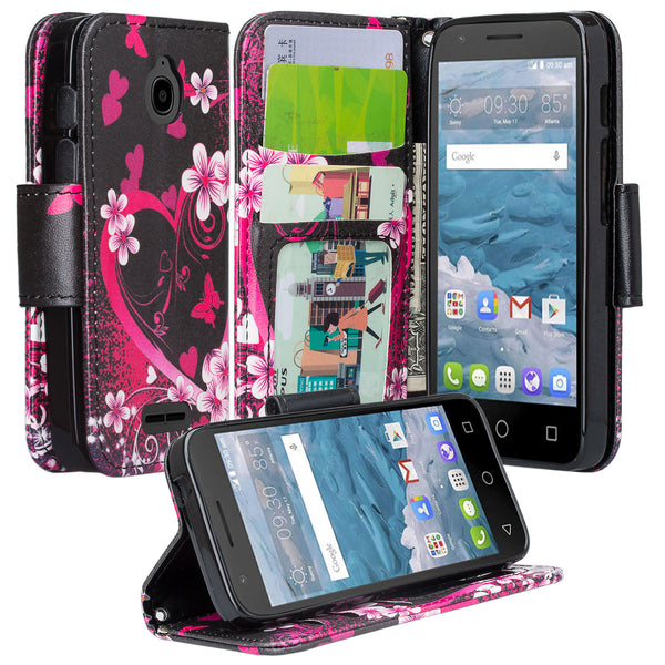 Alcatel dawn cover,dawn wallet case - flower hearts - www.coverlabusa.com