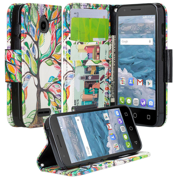 Alcatel dawn cover,dawn wallet case - colorful tree - www.coverlabusa.com