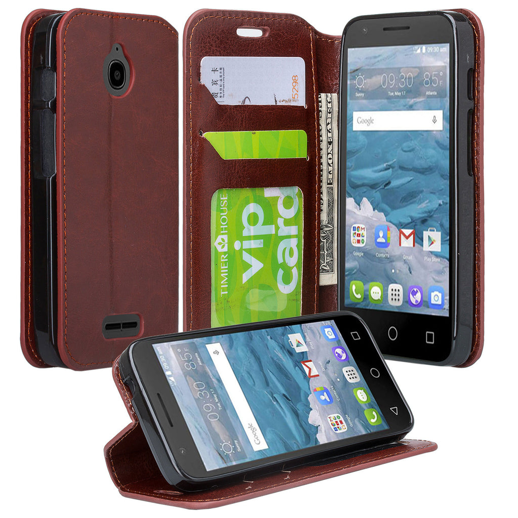 buy popular 03f29 4e9bf Alcatel Pixi Avion Case, Alcatel Dawn Case, Alcatel Streak Case, Alcatel  Ideal, Alcatel Acquire Slim Flip Cover [Kickstand] Pu Leather Wallet Case  ...