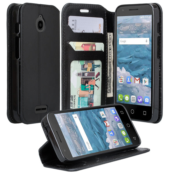 Alcatel dawn cover,dawn wallet case - black - www.coverlabusa.com