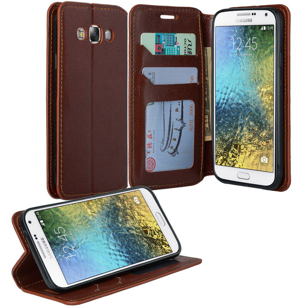 samsung galaxy e5 wallet case - brown - www.coverlabusa.com