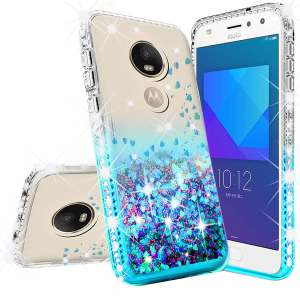 clear liquid phone case for motorola moto e5 play - teal - www.coverlabusa.com