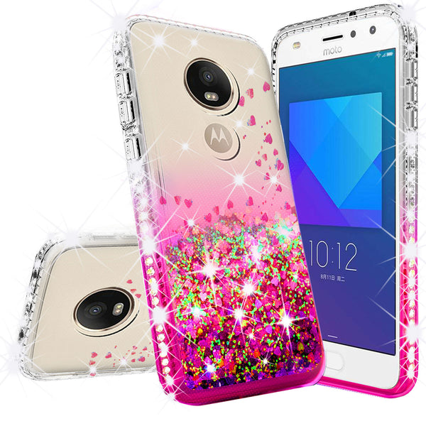 clear liquid phone case for motorola moto e5 play - hot pink - www.coverlabusa.com