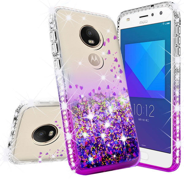 clear liquid phone case for motorola moto e5 play - purple - www.coverlabusa.com