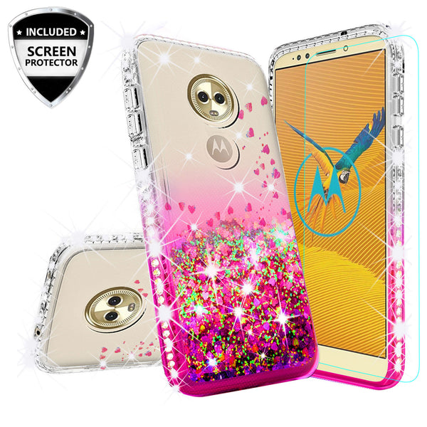 clear liquid phone case for motorola moto e5 plus - hot pink - www.coverlabusa.com